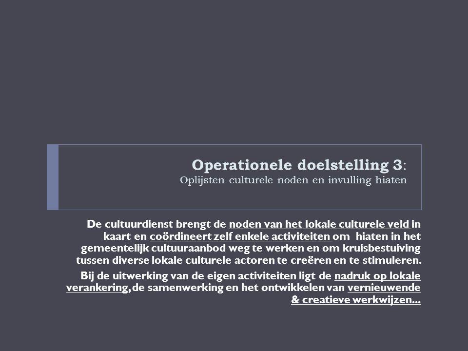 Operationele doelstelling 3: Oplijsten culturele noden en invulling hiaten