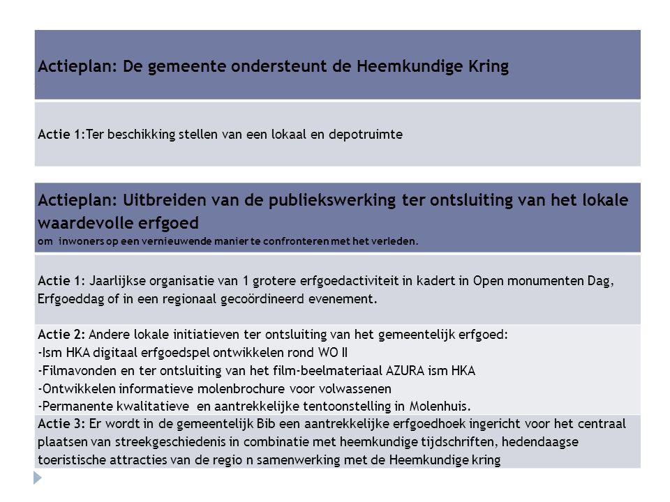 Actieplan: De gemeente ondersteunt de Heemkundige Kring