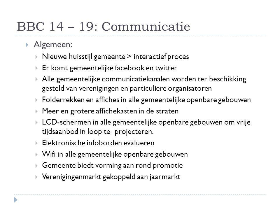 BBC 14 – 19: Communicatie Algemeen: