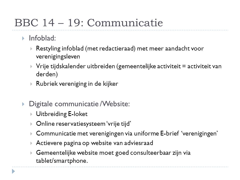 BBC 14 – 19: Communicatie Infoblad: Digitale communicatie /Website: