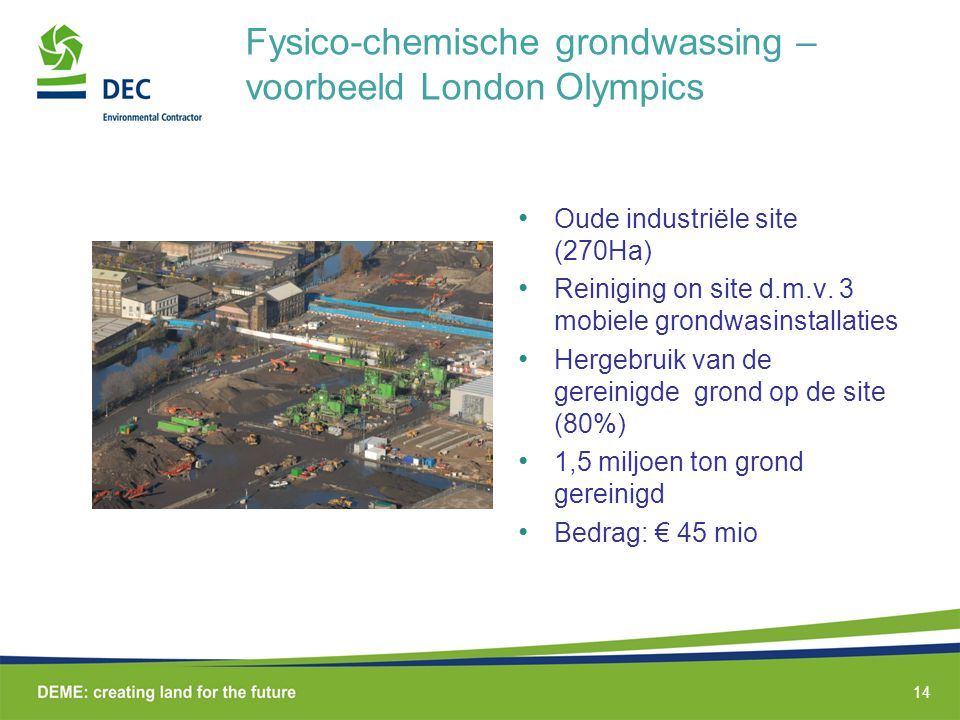 Fysico-chemische grondwassing – voorbeeld London Olympics
