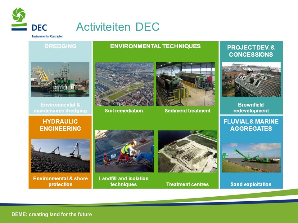 Activiteiten DEC DREDGING ENVIRONMENTAL TECHNIQUES