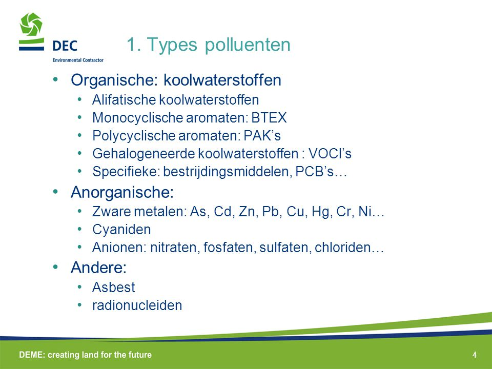 1. Types polluenten Organische: koolwaterstoffen Anorganische: Andere: