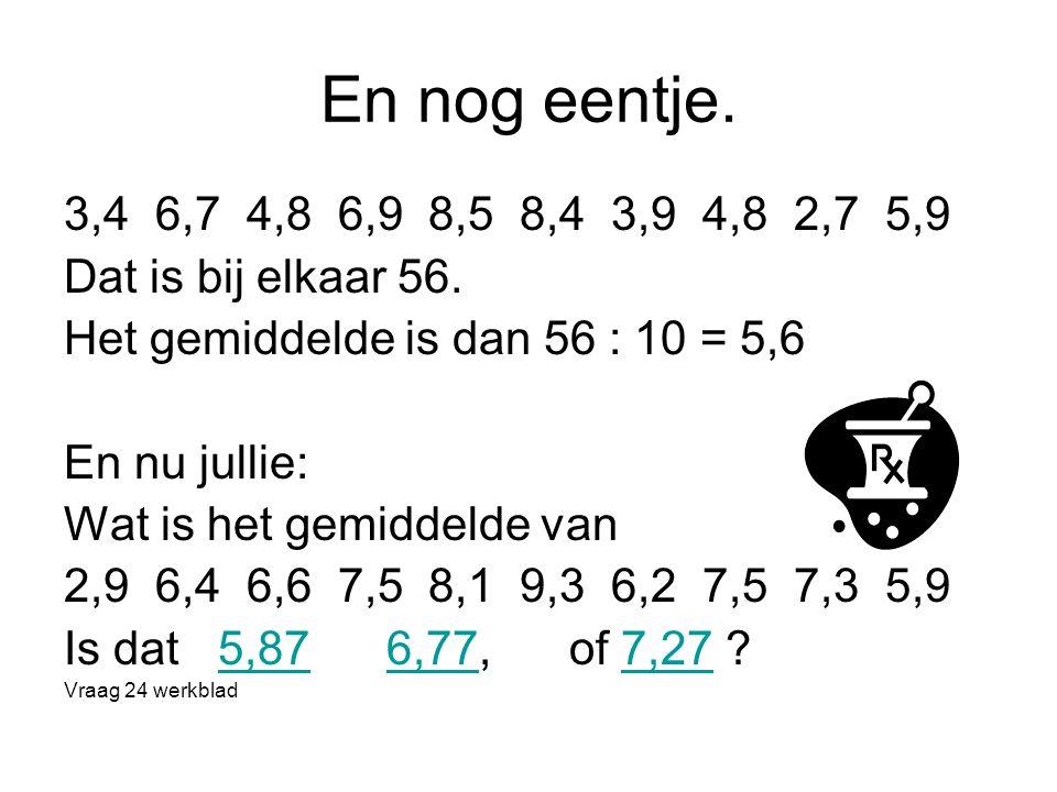 En nog eentje. 3,4 6,7 4,8 6,9 8,5 8,4 3,9 4,8 2,7 5,9. Dat is bij elkaar 56. Het gemiddelde is dan 56 : 10 = 5,6.