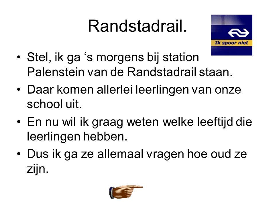 Randstadrail. Stel, ik ga 's morgens bij station Palenstein van de Randstadrail staan. Daar komen allerlei leerlingen van onze school uit.