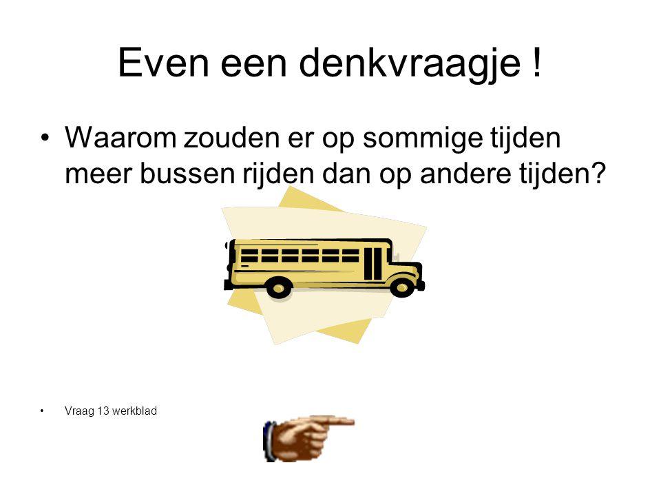 Even een denkvraagje . Waarom zouden er op sommige tijden meer bussen rijden dan op andere tijden.
