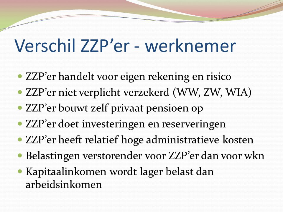 Verschil ZZP'er - werknemer