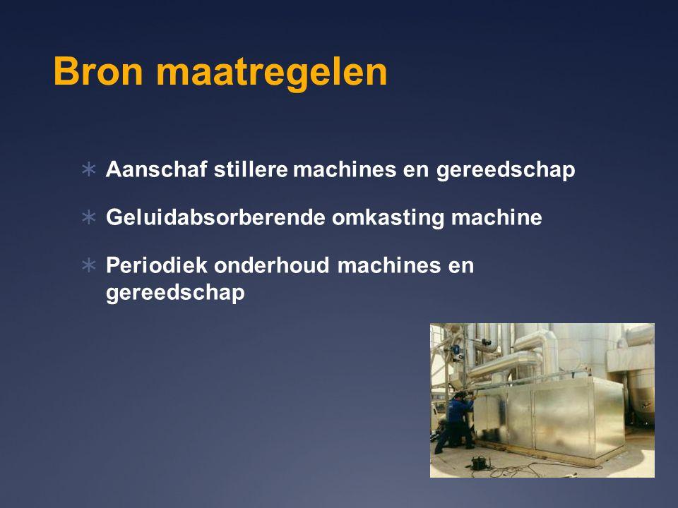 Bron maatregelen Aanschaf stillere machines en gereedschap