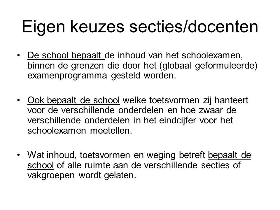 Eigen keuzes secties/docenten
