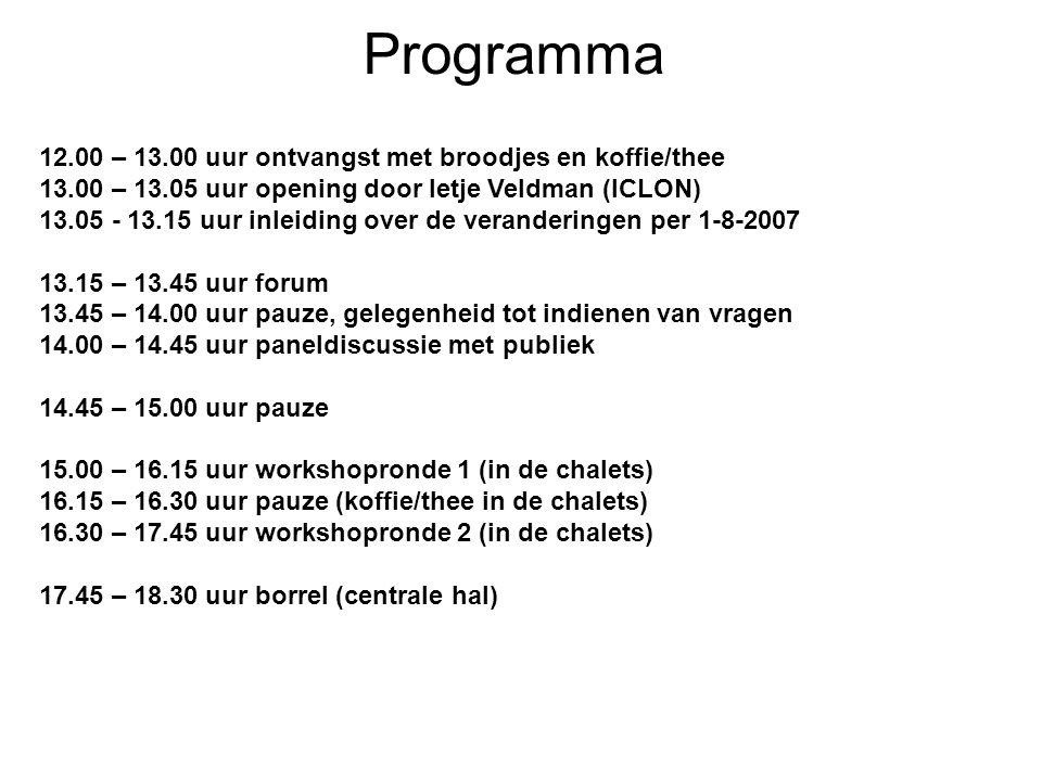 Programma 12.00 – 13.00 uur ontvangst met broodjes en koffie/thee