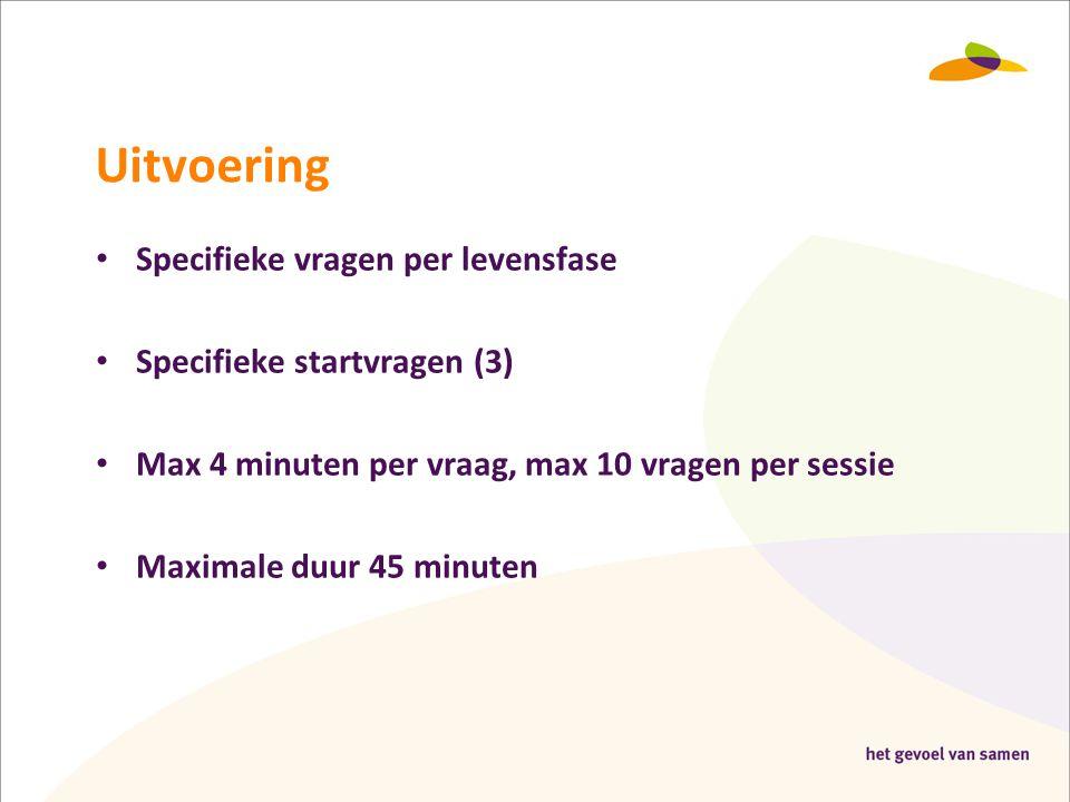 Uitvoering Specifieke vragen per levensfase Specifieke startvragen (3)