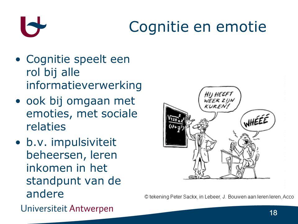 Cognitie en emotie Cognitie speelt een rol bij alle informatieverwerking. ook bij omgaan met emoties, met sociale relaties.