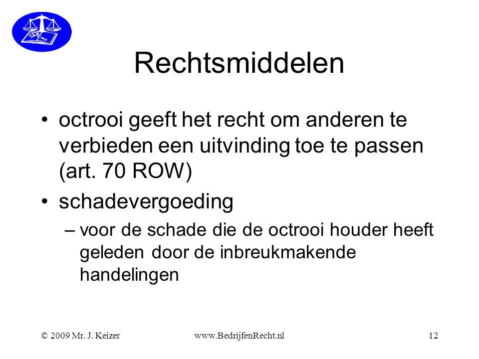 Rechtsmiddelen octrooi geeft het recht om anderen te verbieden een uitvinding toe te passen (art. 70 ROW)