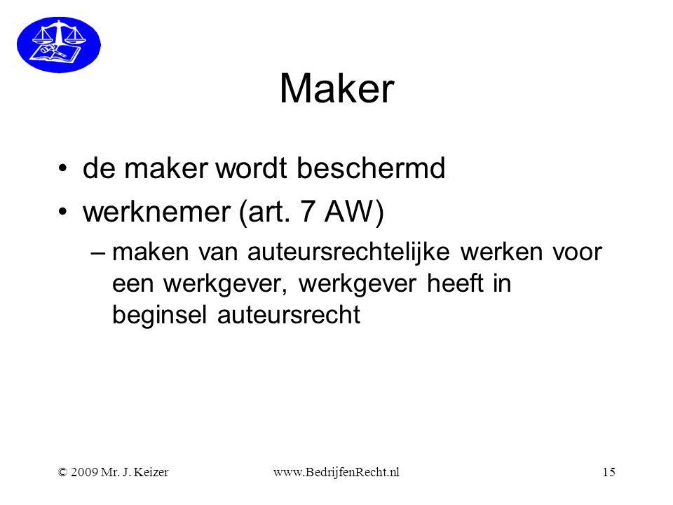 Maker de maker wordt beschermd werknemer (art. 7 AW)