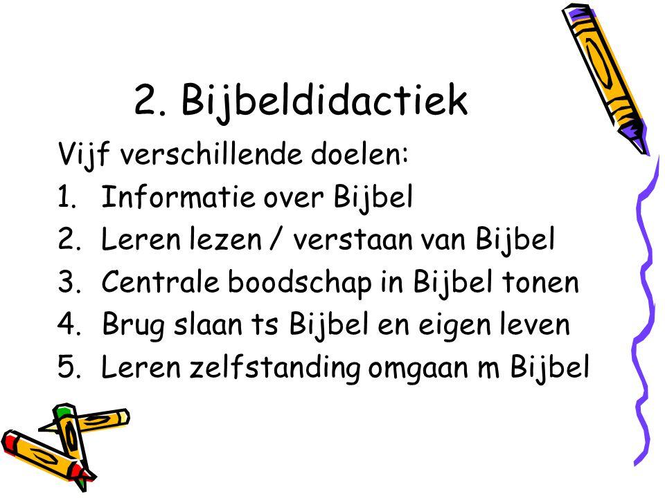 2. Bijbeldidactiek Vijf verschillende doelen: Informatie over Bijbel