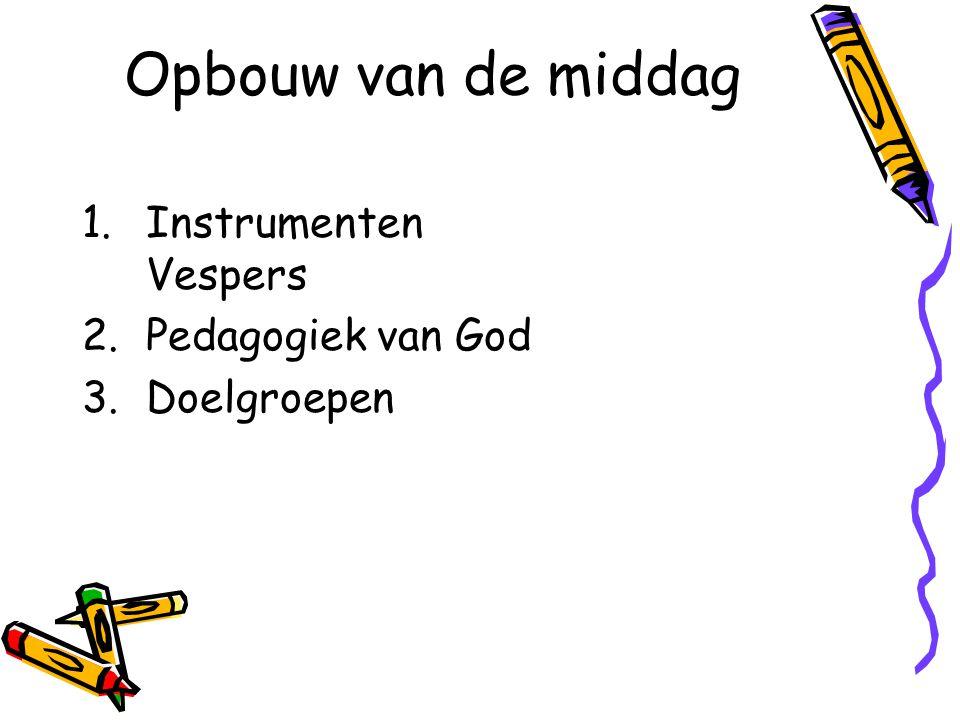 Opbouw van de middag Instrumenten Vespers Pedagogiek van God