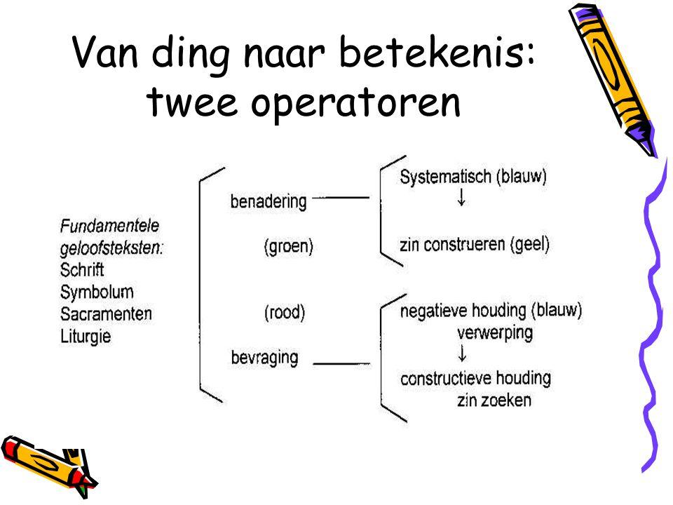 Van ding naar betekenis: twee operatoren