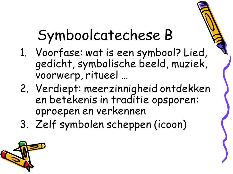 Symboolcatechese B Voorfase: wat is een symbool Lied, gedicht, symbolische beeld, muziek, voorwerp, ritueel …