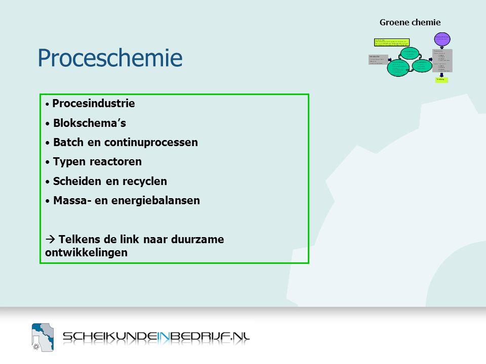 Proceschemie Blokschema's Batch en continuprocessen Typen reactoren