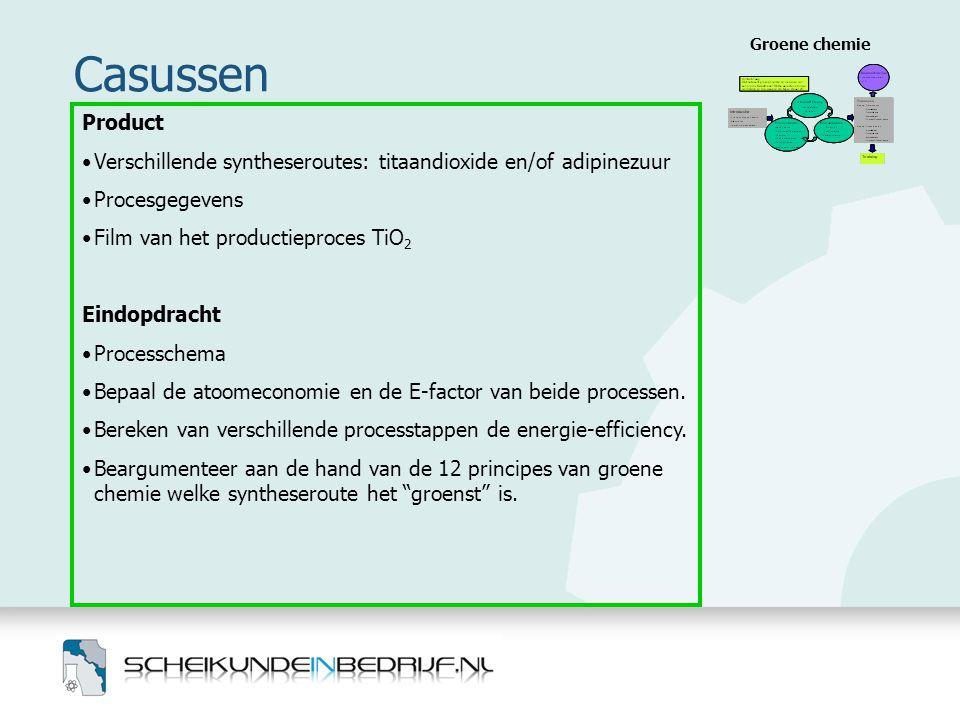Groene chemie Casussen. Product. Verschillende syntheseroutes: titaandioxide en/of adipinezuur. Procesgegevens.