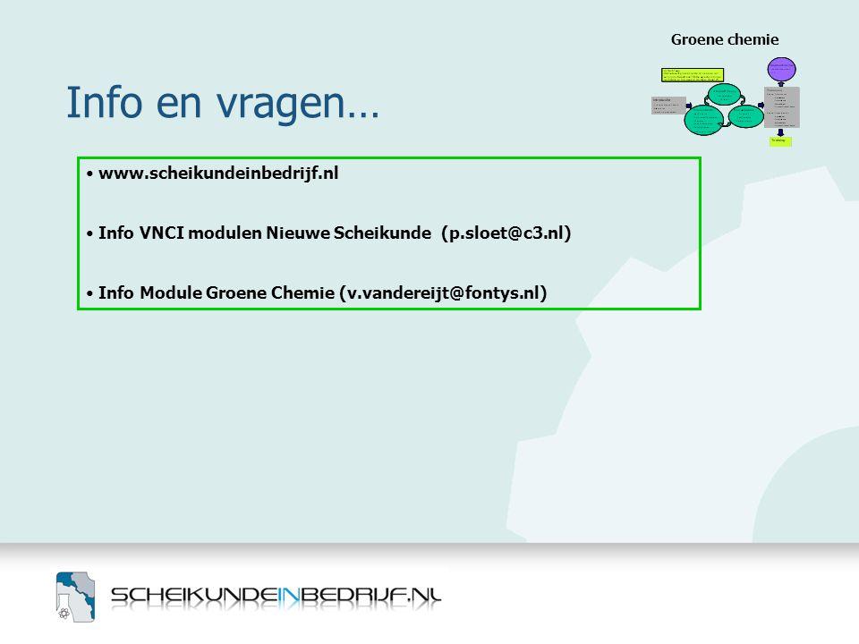 Info en vragen… www.scheikundeinbedrijf.nl