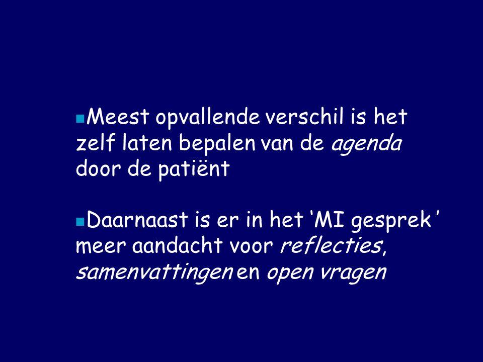 Meest opvallende verschil is het zelf laten bepalen van de agenda door de patiënt