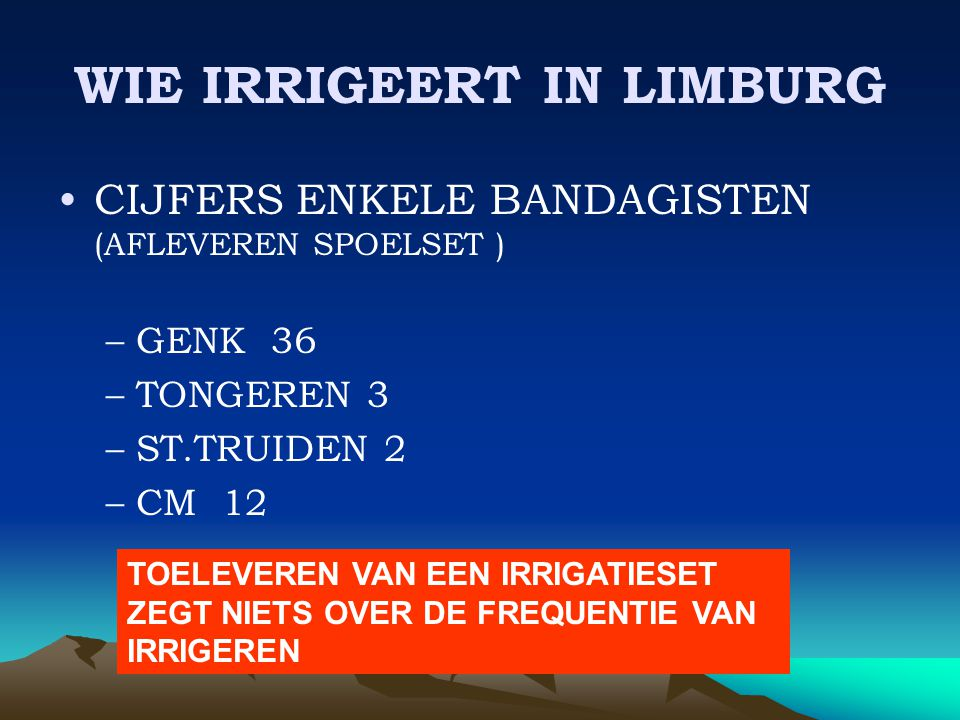 WIE IRRIGEERT IN LIMBURG