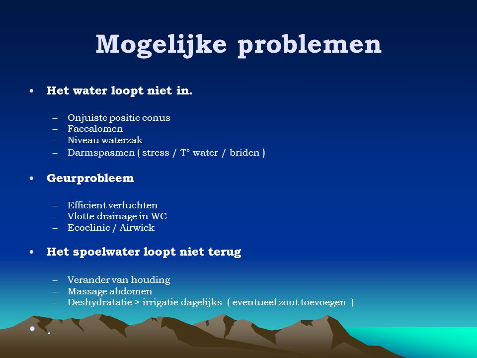 Mogelijke problemen . Het water loopt niet in. Geurprobleem