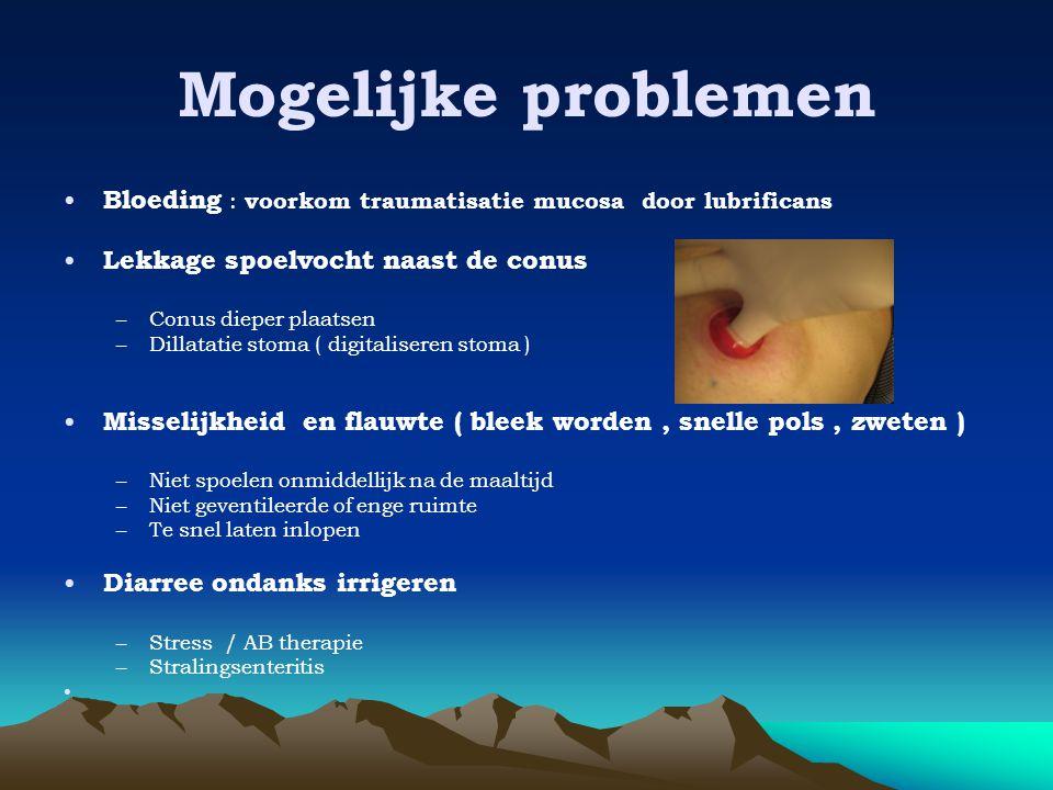 Mogelijke problemen Bloeding : voorkom traumatisatie mucosa door lubrificans. Lekkage spoelvocht naast de conus.