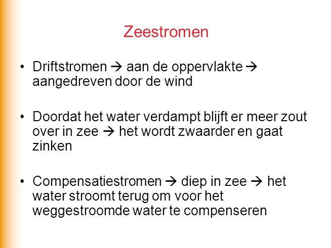 Zeestromen Driftstromen  aan de oppervlakte  aangedreven door de wind.