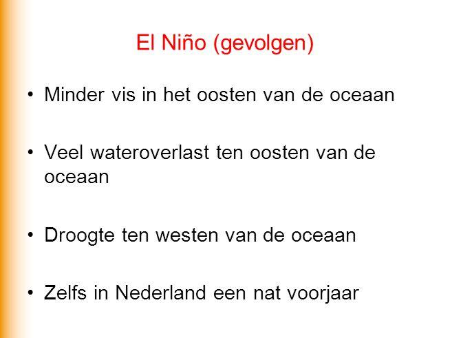 El Niño (gevolgen) Minder vis in het oosten van de oceaan