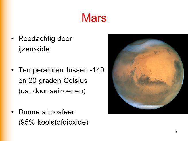 Mars Roodachtig door ijzeroxide Temperaturen tussen -140