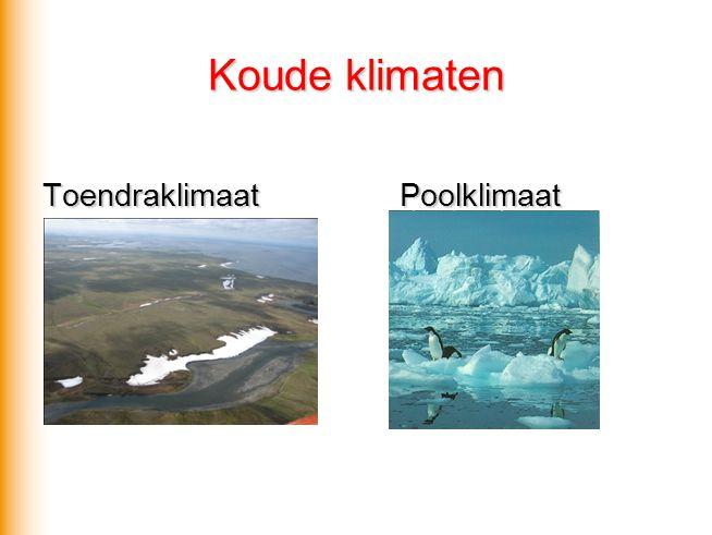 Koude klimaten Toendraklimaat Poolklimaat