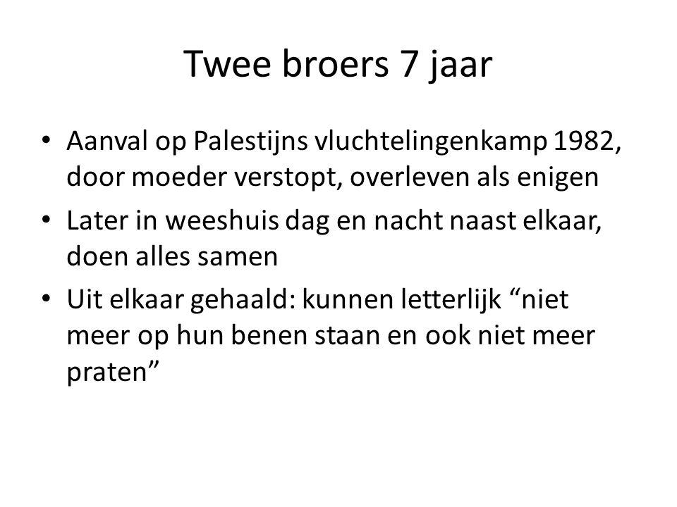 Twee broers 7 jaar Aanval op Palestijns vluchtelingenkamp 1982, door moeder verstopt, overleven als enigen.