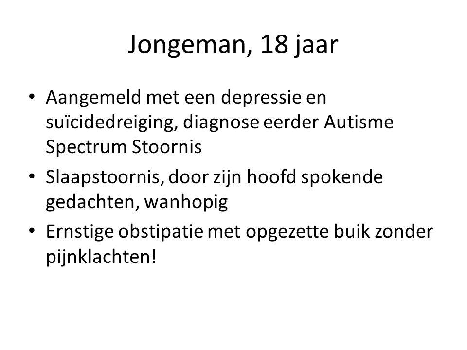Jongeman, 18 jaar Aangemeld met een depressie en suïcidedreiging, diagnose eerder Autisme Spectrum Stoornis.