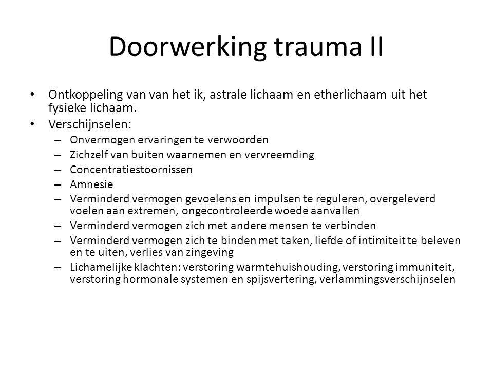Doorwerking trauma II Ontkoppeling van van het ik, astrale lichaam en etherlichaam uit het fysieke lichaam.