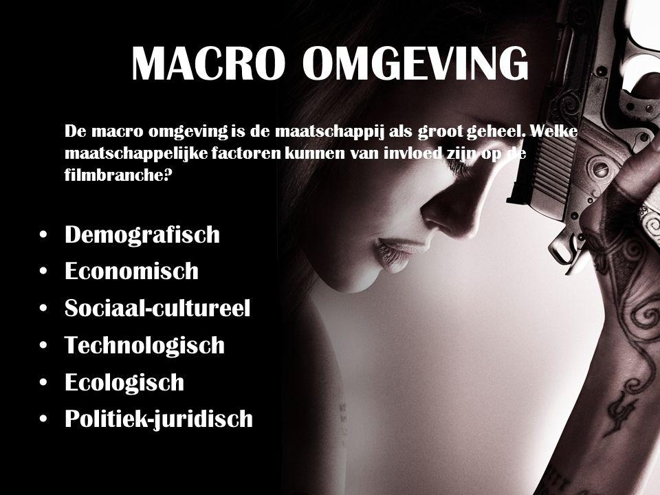 MACRO OMGEVING Demografisch Economisch Sociaal-cultureel Technologisch
