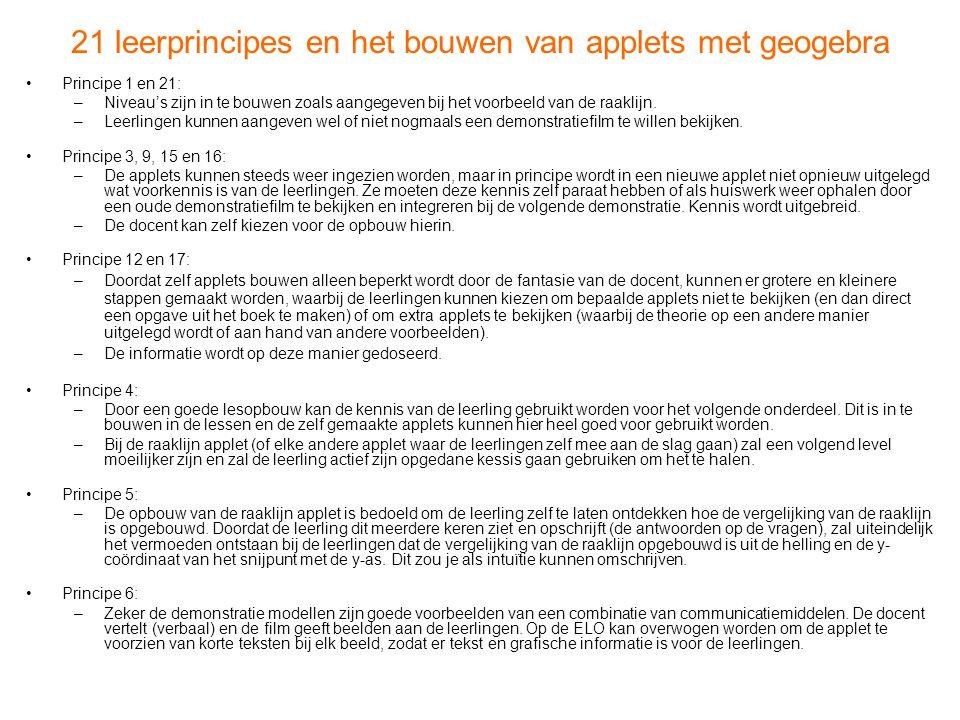 21 leerprincipes en het bouwen van applets met geogebra