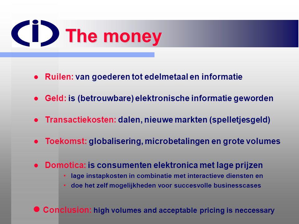 The money Ruilen: van goederen tot edelmetaal en informatie. Geld: is (betrouwbare) elektronische informatie geworden.