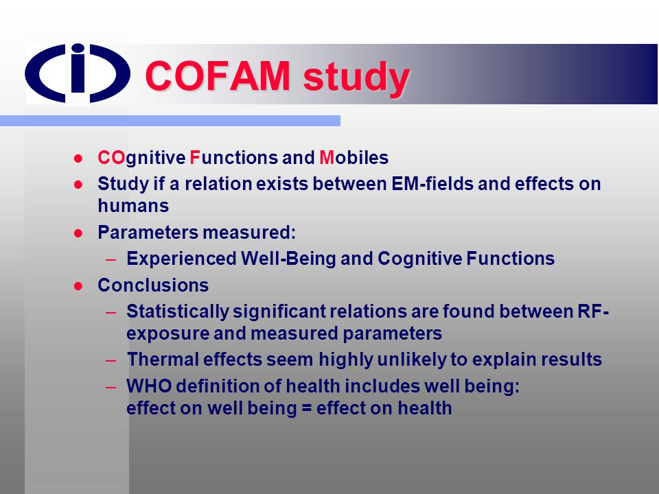 COFAM study COgnitive Functions and Mobiles