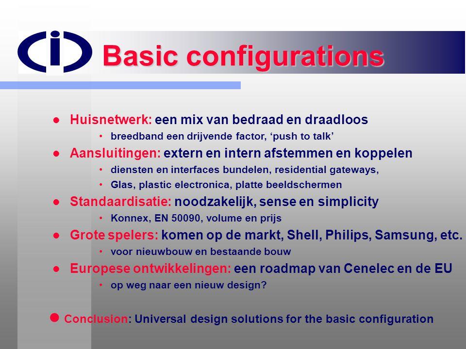 Basic configurations Huisnetwerk: een mix van bedraad en draadloos. breedband een drijvende factor, 'push to talk'