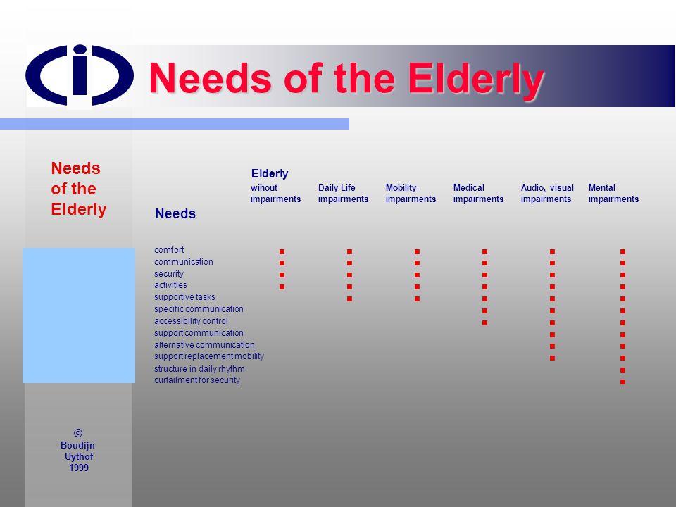 Needs of the Elderly Needs of the Elderly Needs Elderly © Boudijn