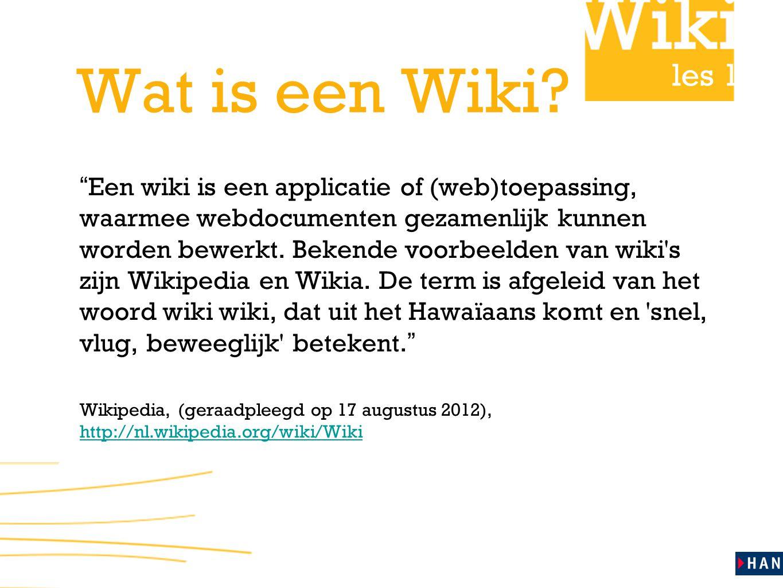 Wat is een Wiki