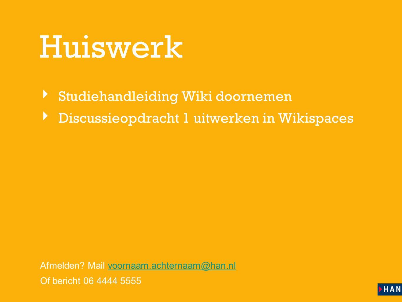 Huiswerk Studiehandleiding Wiki doornemen