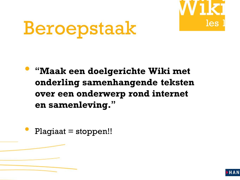 Beroepstaak Maak een doelgerichte Wiki met onderling samenhangende teksten over een onderwerp rond internet en samenleving.