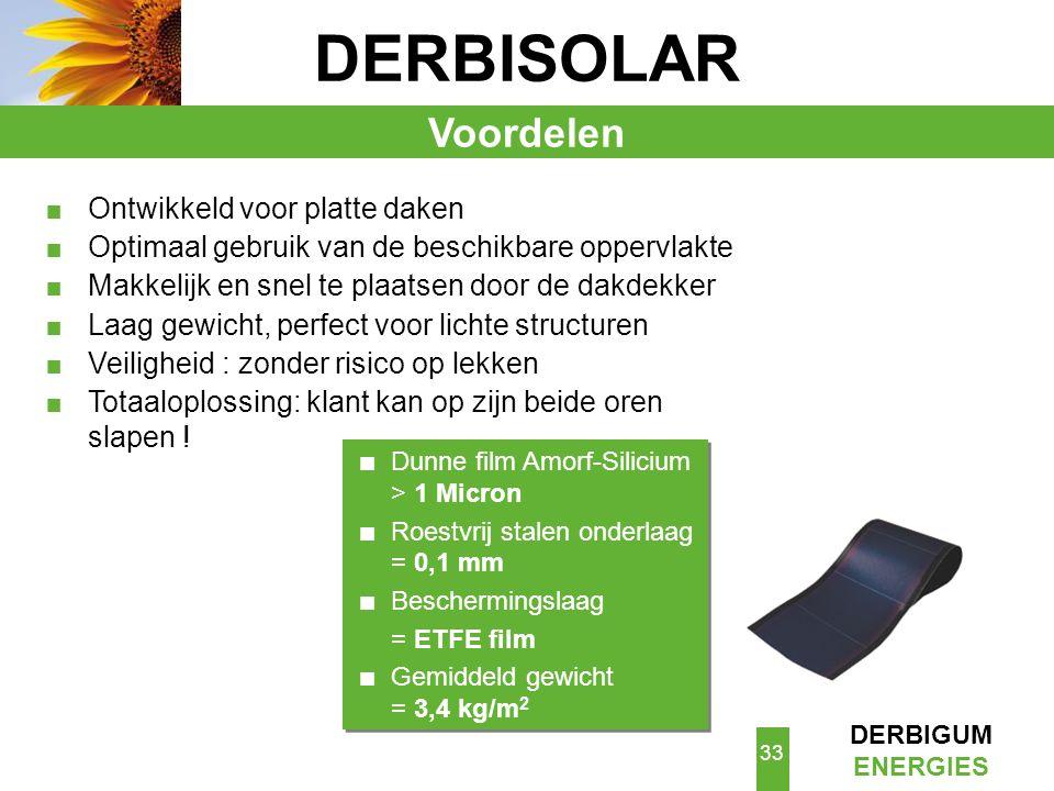 DERBISOLAR Voordelen Ontwikkeld voor platte daken