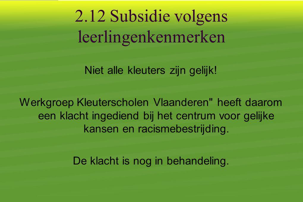 2.12 Subsidie volgens leerlingenkenmerken