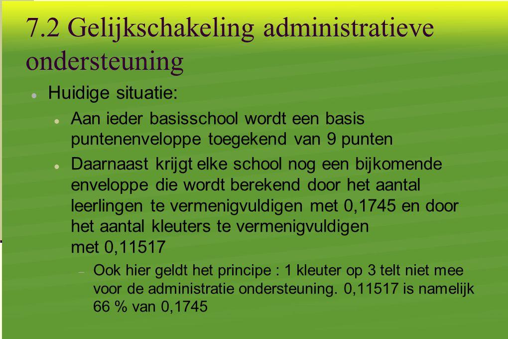 7.2 Gelijkschakeling administratieve ondersteuning