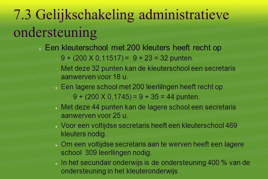 7.3 Gelijkschakeling administratieve ondersteuning