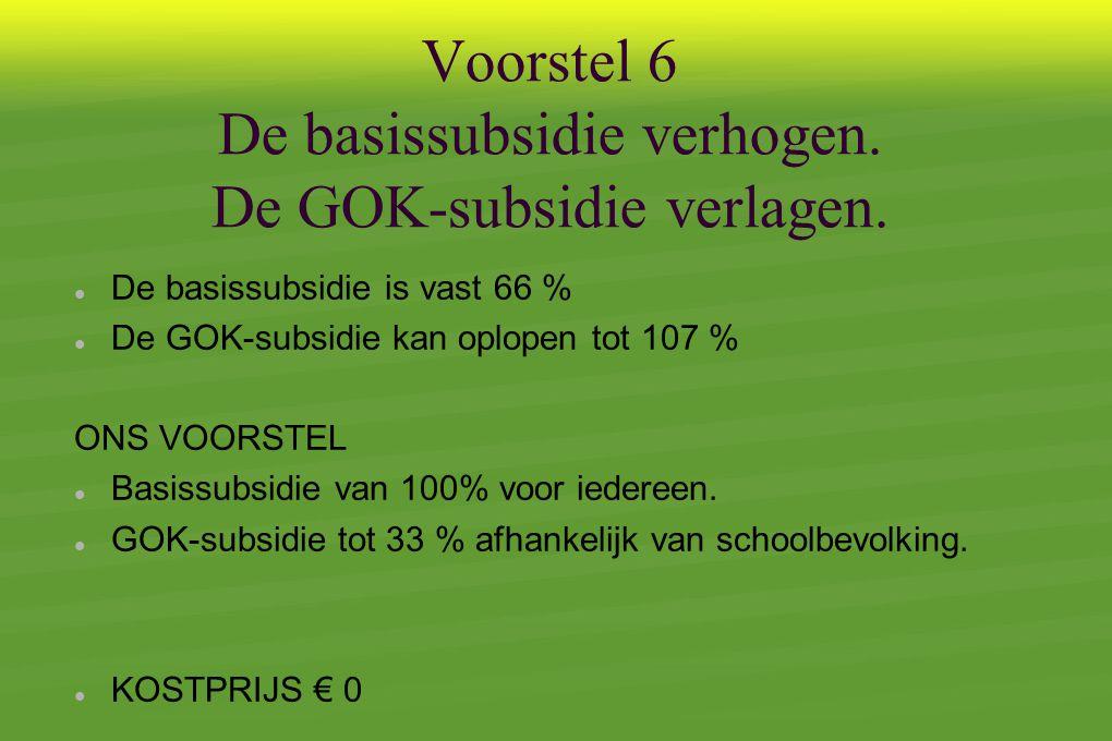 Voorstel 6 De basissubsidie verhogen. De GOK-subsidie verlagen.